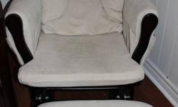 Beige/Espresso Storkcraft Glider Chair w/ Ottoman- $125.00   Chair Has 2 Pockets On Each Side; Perfect For Holding Magazines Or Books From A Clean, Smoke-Free Home In Elliot Lake We Had It In Our Nursery When Our Daughter Was Born & Barely Used It. We