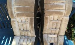 Goalie pads are plenty good for a game at the local rink or for street hockey Strl Goalie Pads, Leather All leather straps in good order Made in Canada 26 x 10 inches $30