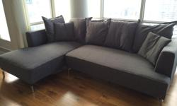 """Moving Sale - Available end of April, date negotiable [moving end of April] Structube Kennedy Sectional Sofa [https://www.structube.com/en/kennedy-sectional-sofa-left-54-70-14#!pid=11757] sells for > $1900 new. Width: 254 cm (100"""") Depth: 163 cm (64"""")"""