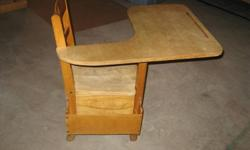 1950s solid wood student desk chair with drawer underneath. Very good condition.