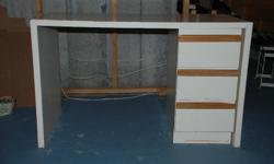 """Student / Hobby desk in good shape. Free-standing set of three drawers (not attached to desk). Desk measures 481/2 """" wide x 24"""" deep x 30 """" high. Can easily be repainted.You'll need two people to move it up from my basement. Free to good home."""