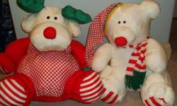 stuffed polar bear and reindeer - about 22 inches high $15.00 each or two for $25.00 - regular price was $40.00 each Excellent condition - only used at Christmas as decoration, never played with - no kids