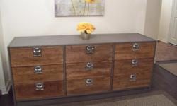 I have a stylish grey contemporary style all-purpose chest for sale. Made of solid wood. The drawers are natural treated wood. It is in excellent condition. Has 9 drawers with dovetail joints. All the drawers are clean and slide well. Definitely a modern