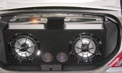 """Have mint condition custom ported box carpeted black, with 2 12"""" Phoenix Gold Sub-woofers Octane R series. Comes with a 1600 watt mono block Sony Xplod amp to power the 2 subs. Also comes with a matching 1200 watt Sony Xplod amp  to amp front speakers"""