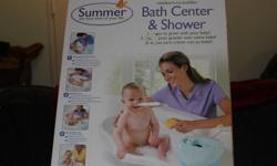 **This was bought and never used - the box has never been opened. It's good for newborn all the way to toddler. It is a great combo bathing station..it comes with the actual bath station/removeable battery operated shower unit/fabric rest for baby to lay