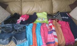Summer Lot of Girls Size 10-12 Assorted Brands Lot includes: 1 pair of blue capris 3 pair of jean shorts 1 - 2piece pjs (counts as 2 items) 8 tank tops 1 short-sleeve top 3 pairs of shorts Selling as a a lot only - get ALL 18 items for ONLY $30 (works out