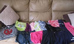 Summer Lot of Girls Size 10-12 Assorted Brands Lot includes: 1 pair of blue capris 3 pair of jean shorts 1 - 2piece outfit (counts as 2 items) 1 tye-dye t-shirt 9 tank tops 2 short-sleeve tops 4 pairs of shorts Selling as a a lot only - get ALL 22 items