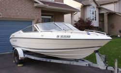 17' 3.0L o.m.c. cobra 130 h.p. power steering, a.m/f.m. radio, trailering cover, bunk trailer, new tires, wheel bearings. Excellent ski & fish boat, easy on fuel !! A Must See !!