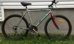 """For Sale; Supercycle mtn.bike. 21"""" oversized chrome frame.Friction Gripshift. 26"""" tires-18 spd. Quick release seatpost..Great condition. $60."""