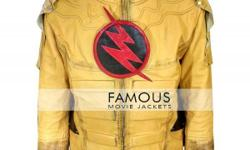 Superhero Reverse Flash Cosplay Leather Jacket Costume This costume is inspired by reverse flash. This distress jacket is made of real leather in yellow color while its inner material is soft to keep you comfortable and stylish at the same time. The