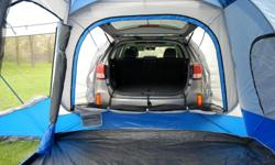 The Sportz SUV Tent Model 84000 wraps around the cargo area of your vehicle allowing, for uninterrupted access and comfort. The universal vehicle sleeve easily attaches to any SUV providing complete access to your vehicle from inside the tent. No longer