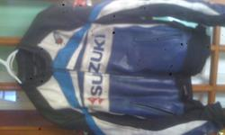 Suzuki leather gsxr race coat  perfect for track days worn but not worn out  new steel zipper 100.00 761-6788  size says 50