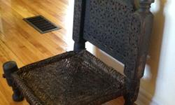 Swat Valley authentic Pakistan chair in good shape. Very solid. Beautiful and unique. Throw an accent pillow on top... If interested, please contact Sue @ 613-680-3436 or text 408-3236