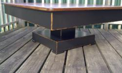 """COFFEE TABLE, COMPLETELY RESTORED FROM ANTIQUE KITCHEN TABLE PURCHASED AT AUCTION It was cut down, top is stained with Early American Stain, and base is painted black with a distressed look. Dimensions : 39.5"""" x 41""""  Height is 16"""" Great size for large"""