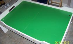Play table 3' x 4' usually used for train sets, etc. Green on White. In great condition. Has some art deco, stickers. 2 drawers. $40 or b.o