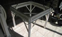 """Table - Wicker base & glass top 40""""x""""40"""",  Height 29"""" $50.00 or best offer."""