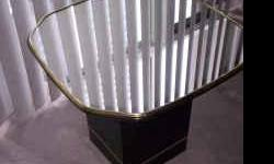 """Tables Mirror Top End / Side Tables with Black Base - $65 ((Yonge & College)) Tables Mirror Top End / Side Tables with Black Base Mirror Top Tables set of 2 for end or side tables. Black with gold and Mirror Top. Table Top is 2ft'x2ft' and 20"""" in height."""