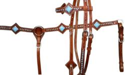 Western Show Tack Tan Turquoise Light or Dark Western Show Tack Headstall + Breast Plate + Reins 3pc Set New Retail Price in Tack Stores: $299 Buy it here now for $135 Here are the details: Conchos: Hand Engraved Hardware: Hand Engraved Conchos and