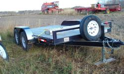 Tandem Car Hauler Trailer,  12 foot deck, like new, less than 1000 km,  spare tire & wheel, all wired ready for you to use.