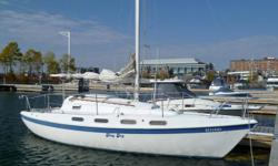 Sturdy, quick and easy to sail;  4 sails - original and mainsail requires some stitching and the rest are in good condition;  no spinnaker;  all lines lead back to cockpit; newer mainsail cover;  9.9 HP Johnson - electric start;  2 anchors;  inflatable