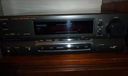 Hi, this is a great looking, and sounding Technics Audio Video Amp/Receiver, it weighs 21 pounds and puts out 110 watts of power per channel. This quality built class H+ Technics amplifier has had the contacts cleaned for static free operation. The AM/FM