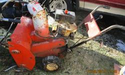 7 hp Tecumseh engine, 24 inch dual auger, 2 stage, old but works good.