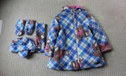 Size 3-3X Fleece teddy bear print on the outside + pink fleece layer on the inside. Made in Canada Brand new. All tags still attached.
