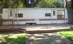 1984 trailer, 30 ft deck, 8/10 sided shed