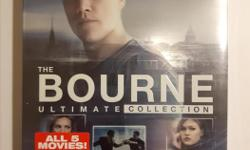 This 5-movie collection includes THE BOURNE IDENTITY, THE BOURNE SUPREMACY, THE BOURNE ULTIMATUM, THE BOURNE LEGACY, and JASON BOURNE. Brand new and unopened.