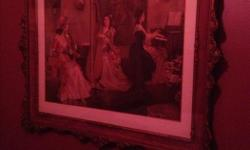 Large , 3 x 4 feet, old-fashioned print depicting a woman playing piano, another playing harp, another observing - the three ladies - set in glass with gilded ornate frame, $50.