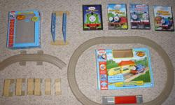 Comes from smoke free home.  Gently used , excellent condition. Perfect starter for the child who loves Thomas, all trains are battery operated and can buy more sets to expand (at Walmart). Dvd's: Best of Percy James Goes Buzz Buzz Tales From The Track