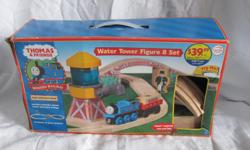 Hello, we are selling a Thomas the Tank Engine Water Tower Figure 8 set. It has the box but is missing a few pieces, as you can see from the contents panel on the side of the box. It's missing the cargo car and cargo, Sir Topnam Hat, the stop sign, and