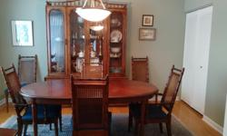 "We are unable to take our dining room furniture to our new home. Thomasville Brighton Pavilion set made of pecan in North Carolina. Oval Table with 2 leaves 38""w x 56 to 96""l, 30""h 4 side chairs - upholstered 2 arm chairs - upholstered China cabinet- 64"""