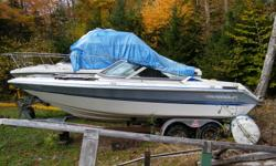 """Project Boat. 20"""" Thundercraft temptation, V6 Mercruiser, engine seized, Hull in good shape, outdrive, sitting on tandem galvanized trailer. Needs a lot of tlc, great for winter project for DIY."""