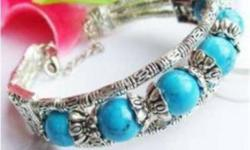 Tibet Silver Bracelets. Turquoise bead, red coral bead, or black agate bead. $5 each.