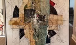 "�tienne Gélinas Comp 179 - $3000 - 60"" x 60"" - mixed media on canvas"