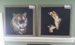 """Two separate paintings (description is for both). $325 for each painting. Original acrylic painted on Masonite, each 19"""" x 19"""", framed with barnboard style wooden frame, matched set, each painted with black background. Painted by seller."""