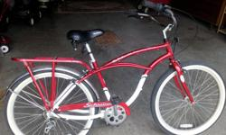 Collector's TIM HORTON 40th ANNIVERSARY SCHWINN BICYCLE. This bicycle was made in the vintage Schwinn touring style with a modern 5 speed shifter in the handle. It also has a 7005 Aluminum frame.