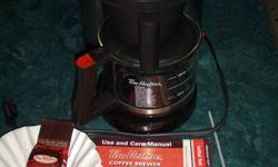 FOR SALE A TIM HORTON COFFEE BREWER IN EXCELLENT CONDITION, JUST CLEANED OUT (DESCALED)  WITH INSTRUCTION BOOK, DESCALING TOOL, SOME FILTERS AND A PACK OF TIMMIES COFFEE. $95.00
