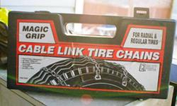 Brand new set of cable chains to fir tires up to 17 in.   See photos of a list of all sizes this set of chains will fit