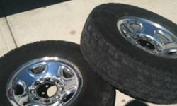 All rims in great shape and come with center caps and lug nuts. They are off a 2000 gmc 2500 so they are eight bolt. Two tires are total terrains and have about 80 percent tread left. The other two tires are very warn. All tires are on rims. The two tires