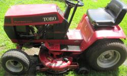 1 cylinder overhead valve 14 hp ONAN engine, electric pto, hydro-static transmission, 38 inch mower.Works good.