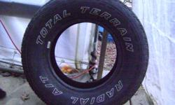 I am selling 4 total terrain radial A/T P235/75R15 tires for $300 or best offer. these tires are like brand new only have about 100 km on them befor i took them off to sell the vehicle. They can be used for either summer or winter.  I am located in