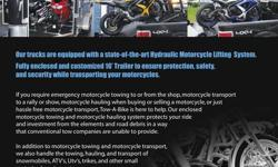 24/7 MotorCycle Roadside Rescue and Transporting. We specialize in Snowmobile, ATV's, UTV's, Trikes, Can-am's NEED DELIVERY NOW FROM DEALER TO HOME OR STORAGE!! check us out on FACEBOOK!! check our VIDEOS on YOUTUBE!! get a quote online !!