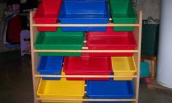 "10 Bin Toy Organizer Sturdy Wood Construction Plastic Bins 34""W x 11""D x 31""H"