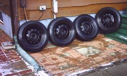 i have for sale, a set of 4 TOYO brand winter tires on multi fit rims. they have 1 winter season on them. these tires have very low mileage .. since i'm retired, i didn't drive much during last winter. they were on my 1997 ford escort. they are.....size