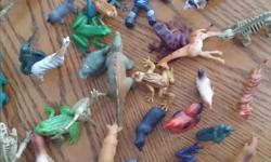 Various animals and army men toys