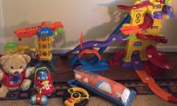 Kids (Toddler) Toys for Sale: We are moving and have some young kids toys to sell. * Selling a Vtech Go Go Smart Wheels playset that was a gift just this Christmas. Retails for $60 plus tax. We will also include a matching crane set (also a 2015 Christmas