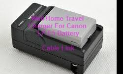Battery Charger For Canon LP-E5 LPE5 EOS Rebel XS XSi T1i 450D 500D 1000D -Foldable flat pin for easy storage -Non-OEM new replacement charger -Smart charging LED indicator -Auto switching power voltage from 100V-240V AC -Input voltage AC:100-240V -Output