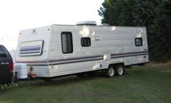 This travel trailer has been very well maintained. New dual batteries in last year, new tires in last year, brakes and bearings replaced and serviced in summer.Has a well built trailer hitch under rear bumper fabricated by journeyman welder. Camper is